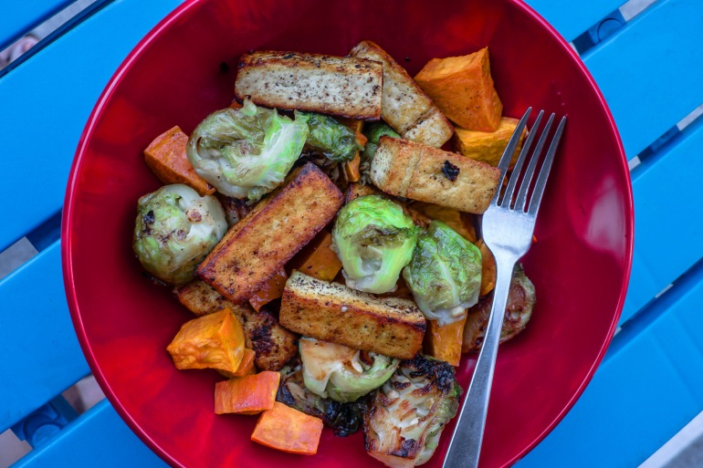 Maple-Chipotle Tofu with Brussels Sprouts, Sweet Potatoes