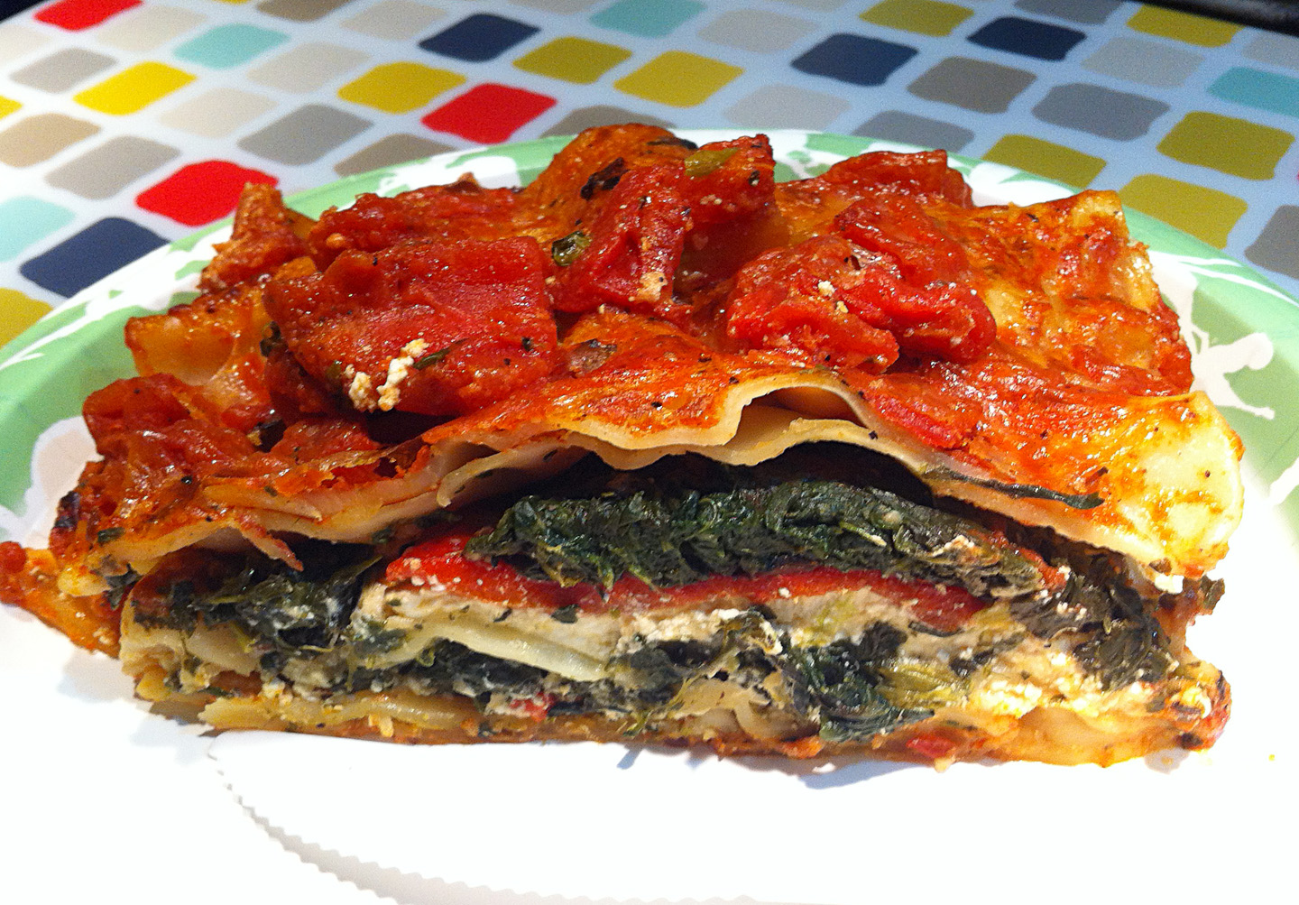 Red Pepper-Spinach-Feta Lasagna – Diet for a Tiny House